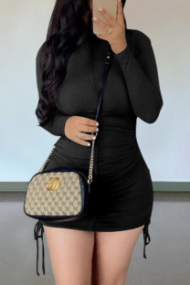 Black Casual Solid Draw String O Neck Pencil Skirt Dresses