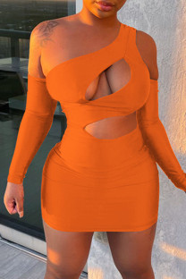 Orange Fashion Sexy Solid Hollowed Out Backless One Shoulder Long Sleeve Dresses