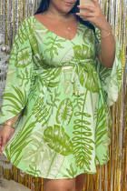Green Fashion Casual Print Basic V Neck Long Sleeve Plus Size Dresses