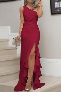 Burgundy Sexy Solid Split Joint Flounce Oblique Collar Straight Plus Size Dresses
