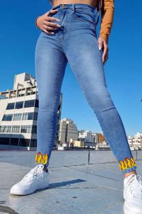 Medium Blue Fashion Casual Print Basic High Waist Regular Jeans