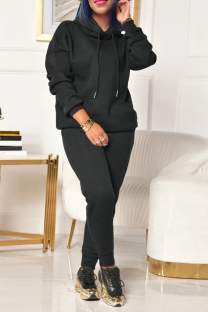 Black Casual Solid Split Joint Hooded Collar Long Sleeve Two Pieces