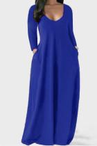 Blue Casual Solid Split Joint V Neck Straight Dresses