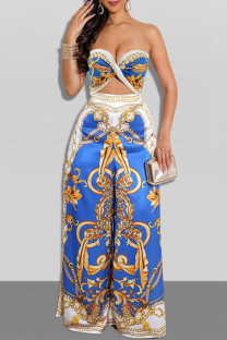 Blue Sexy Casual Print Hollowed Out Backless Strapless Regular Jumpsuits