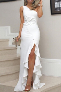 White Sexy Solid Split Joint Flounce Oblique Collar Straight Plus Size Dresses