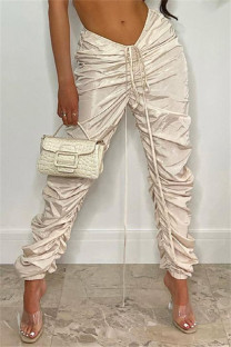 Apricot Fashion Casual Solid Fold Regular Mid Waist Trousers