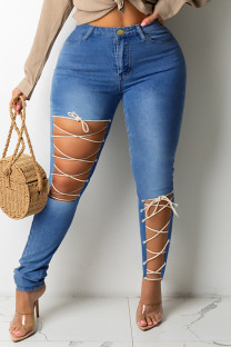 Medium Blue Fashion Casual Solid Ripped Bandage Plus Size Jeans
