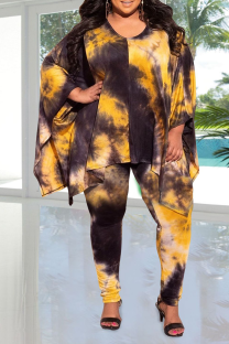 Yellow Casual Patchwork Tie-dye V Neck Plus Size Two Pieces
