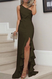 Green Sexy Solid Split Joint Flounce Oblique Collar Straight Plus Size Dresses