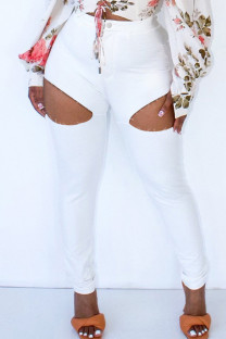 White Fashion Casual Solid Ripped Hollowed Out High Waist Skinny Jeans
