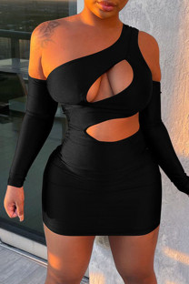 Black Fashion Sexy Solid Hollowed Out Backless One Shoulder Long Sleeve Dresses