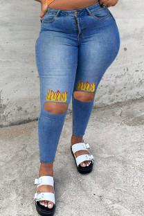 Medium Blue Fashion Casual Print Ripped Plus Size Jeans