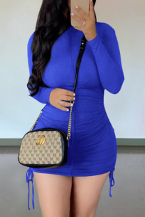 Blue Casual Solid Draw String O Neck Pencil Skirt Dresses