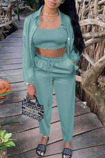 Cyan Casual Solid Split Joint Strapless Long Sleeve Two Pieces