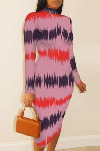 Pink Fashion Casual Print Basic Half A Turtleneck Long Sleeve Dresses