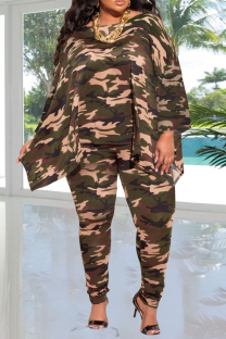 Camouflage Casual Patchwork Tie-dye V Neck Plus Size Two Pieces