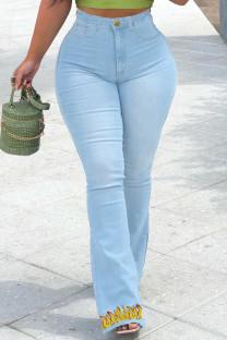 Baby Blue Fashion Casual Print Basic High Waist Regular Jeans