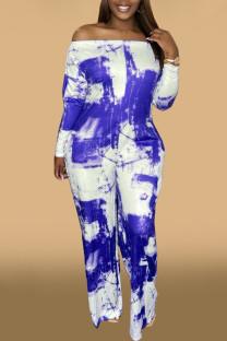 Blue Fashion Casual Print Basic Off the Shoulder Regular Jumpsuits