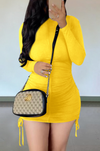 Yellow Casual Solid Draw String O Neck Pencil Skirt Dresses