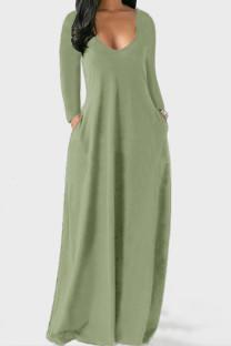 Light Green Casual Solid Split Joint V Neck Straight Dresses