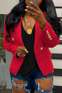 Red Fashion Casual Solid Pocket Buttons Turndown Collar Outerwear