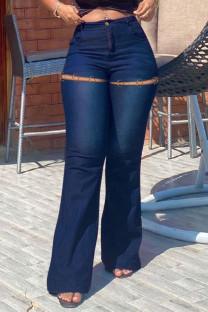 Dark Blue Fashion Casual Solid Ripped High Waist Regular Jeans