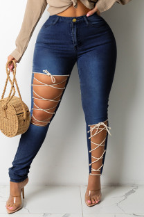 Deep Blue Fashion Casual Solid Ripped Bandage Plus Size Jeans
