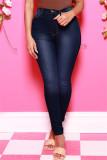 Blue Black Fashion Casual Solid Basic High Waist Skinny Jeans
