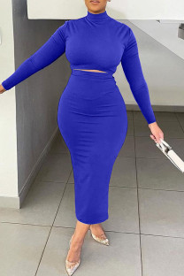Peacock Blue Fashion Casual Solid Basic Turtleneck Long Sleeve Two Pieces