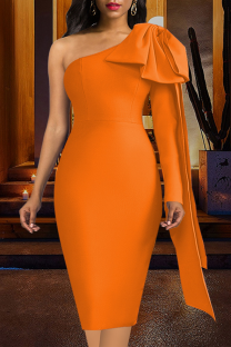 Tangerine Red Sexy Solid Split Joint One Shoulder Pencil Skirt Dresses