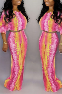Colour Casual Striped Tie Dye Split Joint O Neck Half Sleeve Two Pieces