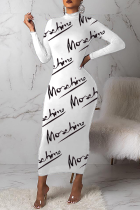 White Sexy Print Letter Half A Turtleneck Pencil Skirt Dresses