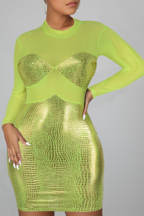 Fluorescent Green Sexy Solid Split Joint O Neck Pencil Skirt Dresses