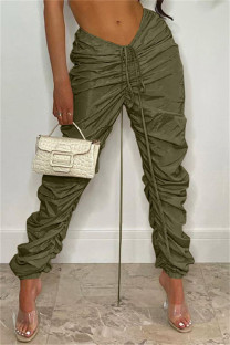 Army Green Fashion Casual Solid Fold Regular Mid Waist Trousers