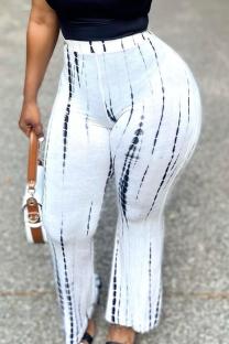 White Casual Print Split Joint Straight High Waist Wide Leg Full Print Bottoms