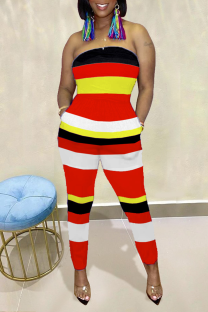 Red Casual Striped Split Joint Strapless Skinny Jumpsuits