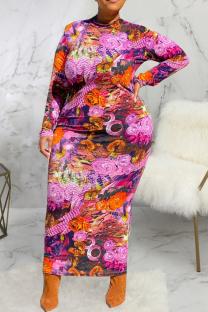Multicolor Sexy Print Split Joint Half A Turtleneck Pencil Skirt Plus Size Dresses