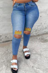 Medium Blue Fashion Casual Print Ripped High Waist Regular Jeans