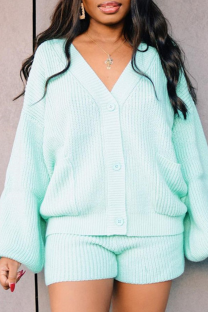 Light Blue Casual Solid Split Joint V Neck Long Sleeve Two Pieces
