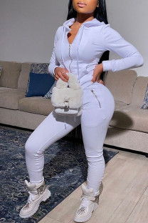 White Casual Solid Split Joint Zipper Hooded Collar Long Sleeve Two Pieces