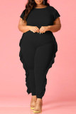 Rose Red Fashion Casual Solid Basic O Neck Plus Size Two Pieces