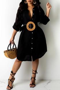 Black Sexy Solid Asymmetrical Turndown Collar Shirt Dress Dresses (Without Belt)