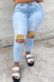 Light Blue Fashion Casual Print Ripped High Waist Regular Jeans
