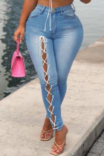 Medium Blue Fashion Casual Solid Bandage Mid Waist Regular Jeans