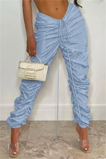 Sky Blue Fashion Casual Solid Fold Regular Mid Waist Trousers
