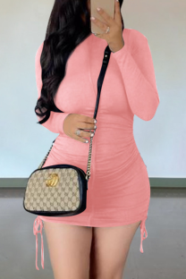 Pink Casual Solid Draw String O Neck Pencil Skirt Dresses