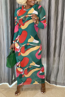 Green Sexy Print Mesh Pencil Skirt Dresses