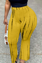 Orange Casual Print Split Joint Straight High Waist Wide Leg Full Print Bottoms