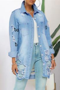 Light Blue Fashion Casual Butterfly Print Ripped Turndown Collar Long Sleeve Regular Denim Jacket