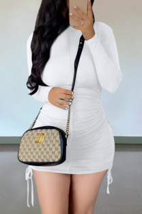 White Casual Solid Draw String O Neck Pencil Skirt Dresses